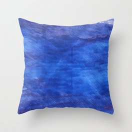 Cerulean blue abstract watercolor Throw Pillow
