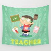 teacher Wall Tapestries featuring teacher by Alapapaju