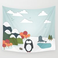 biology Wall Tapestries featuring South Pole by General Design Studio