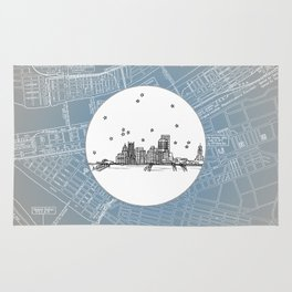 Pittsburgh, Pennsylvania City Skyline Illustration Drawing Rug