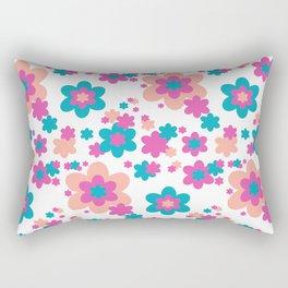 Teal Blue, Hot Pink, and Coral Floral Rectangular Pillow