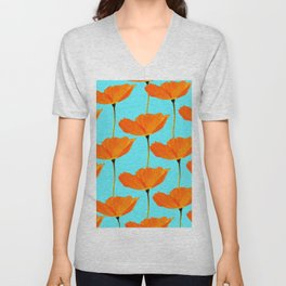 Poppies On A Turquoise Background #decor #society6 #buyart Unisex V-Neck