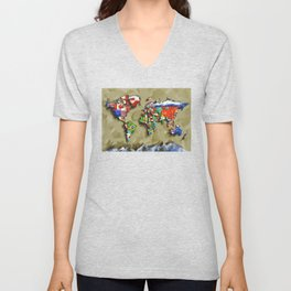 world map with flags vintage 2 Unisex V-Neck