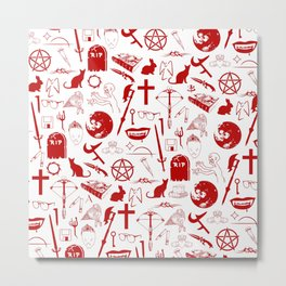 Buffy Symbology - Red Metal Print