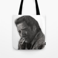 nicolas cage Tote Bags featuring WILD AT HEART - NICOLAS CAGE by William Wong