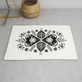Monochrome Scandi Folk Pattern Art Rug