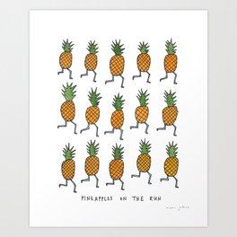 pineapples on the run Art Print