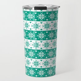 Green Snowflakes Christmas Pattern Travel Mug