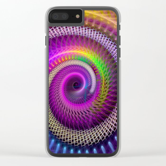 Colorful textured spiral abstract Clear iPhone Case