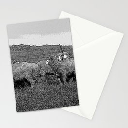 Black & White Sheep in a feild Pencil Drawing Photo Stationery Cards
