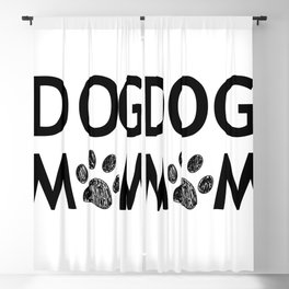 Black paw print with hearts. Dog mom text. Happy Mother's Day background Blackout Curtain