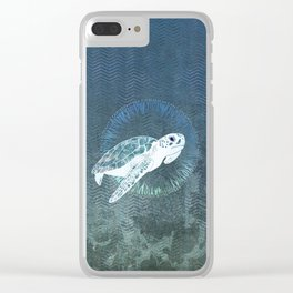 Green Sea Turtle Wreath Clear iPhone Case