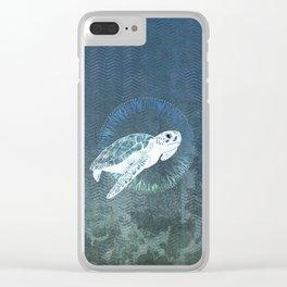 Green Sea Turtle Wreath Clear iPhone Case