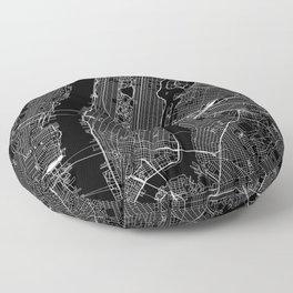New York City Black Map Floor Pillow