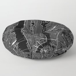 New York City Black Map Floor Pillow