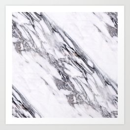 Alabaster White Marble With Charcoal Veins Texture Art Print