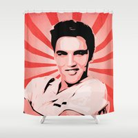 elvis presley Shower Curtains featuring Elvis Presley - Pop Art by William Cuccio aka WCSmack