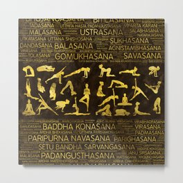 Gold Yoga Asanas / Poses Sanskrit Word Art Metal Print
