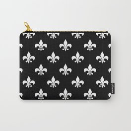 White royal lilies on a black background Carry-All Pouch