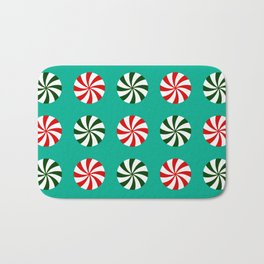Striped Candy Mints in Christmas Colors Pattern Bath Mat