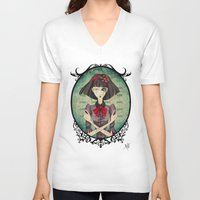 dragonfly V-neck T-shirts featuring Dragonfly by Beñat Olea