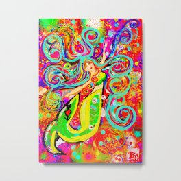 Tattooed Mermaid Metal Print