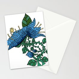 Mosaic Flower in Blue Stationery Cards