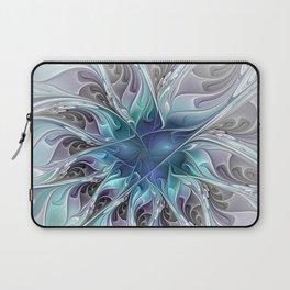 Flourish Abstract, Fantasy Flower Fractal Art Laptop Sleeve
