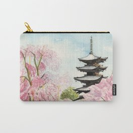 Japanese Temple Watercolor Painting print by Suisai Genki , To-ji, Kyoto , Sakura , Cherry blossom Carry-All Pouch