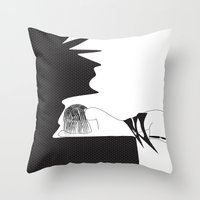 yoga Throw Pillows featuring yoga by March Hunger