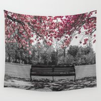 cherry blossom Wall Tapestries featuring Cherry Blossom by Claire Doherty