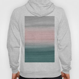 Touching Teal Blush Gray Watercolor Abstract #1 #painting #decor #art #society6 Hoody