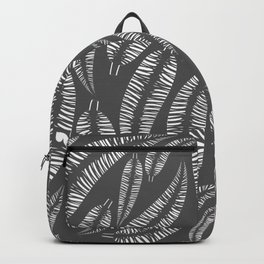 Abstract white bird feathers on a gray background or palm branches. Backpack