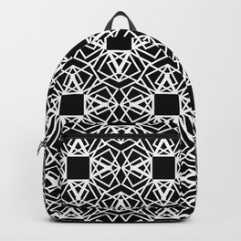geo lace - white on black Backpack
