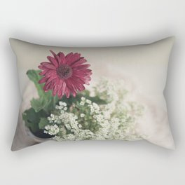 Soft Red Daisy Rectangular Pillow