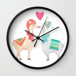 Llamas In Love Wall Clock