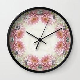Pink Chrysanthemums Kaleidoscope Art 9 Wall Clock