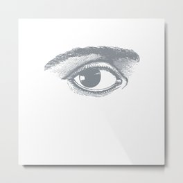 I see you. Gray on White Metal Print