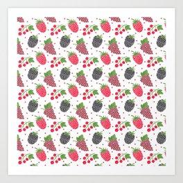 Modern blackberry fruit red raspberry berries pattern Art Print