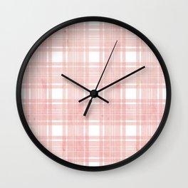Pale pink watercolor plaid Wall Clock