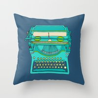 number Throw Pillows featuring Typewriter Number Five by bluebutton studio