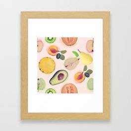 seamless   pattern with fresh fruits . Endless texture Framed Art Print