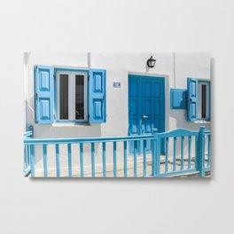 Typical house on the Greek island of Mykonos Metal Print