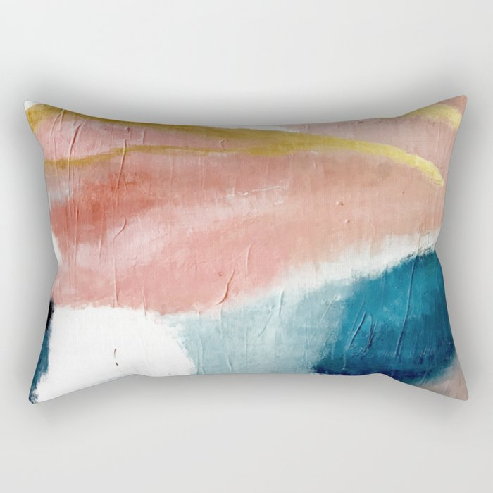 Exhale: a pretty, minimal, acrylic piece in pinks, blues, and gold Rechteckiges Kissen