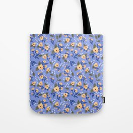 Peach Flowers on Lilac - Floral Pattern Tote Bag