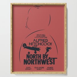 North by Northwest, Alfred Hitchcock, minimal movie poster, classic film, Cary Grant, alternative Serving Tray