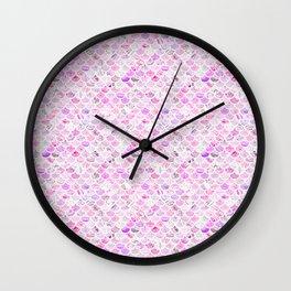 Pink & Purple Marble Mermaid Scales Wall Clock