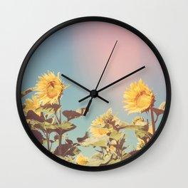 Retro Sunflowers - Nature Photography Wall Clock
