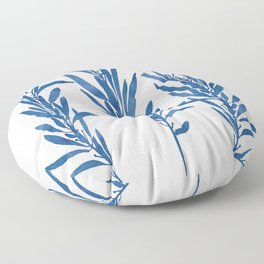 Eucalyptus Branches Blue Floor Pillow
