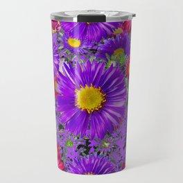 FUCHSIA-PURPLE ASTERS FLOWERS GARDEN Travel Mug